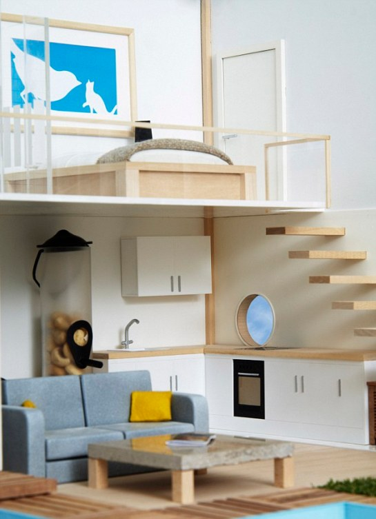Interior design: The bird house also features a home gym, en-tweet master bedroom and contemporary floating stairs to complete the stylish look