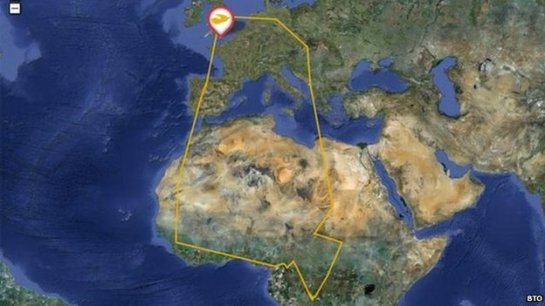 David's migration route shows his journey south to Africa and return north