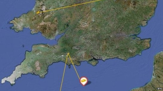 David's tagging location in Wales and his flight back across the English Channel