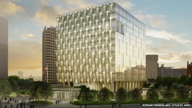 "The new US embassy in London will have an ""envelope"" designed to prevent bird collisions"